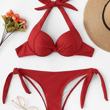 Twist Halter Top With Tie Side Bikini Set