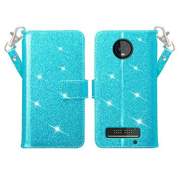 Motorola Moto Z3 Play Case, [Wrist Strap] Glitter Faux Leather Flip [Kickstand Feature] Protective Wallet Case Cover Clutch - Teal