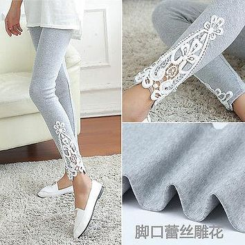 New Fashion Womens Pants Fashion Ladies Lace Crochet Sexy Skinny Leggings Stretch Jeggings Pants Women Clothing