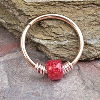 Raspberry Red 16g 18g or 20 Gauge Rose Gold Nose Hoop Ring or Helix Tragus Cartilage Hoop Earring
