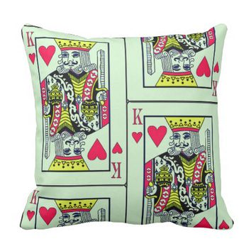 Heart King and Queen playing Card Pillow