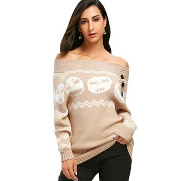 Winter Women Fashion Sweaters Skull Knitting Tunic Sweater Off The Shoulder 6 Colors