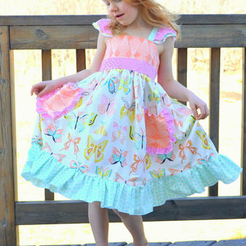 Butterfly Dress, Girls Fancy Tea Party Dress, Toddler Twirl Dress, Ruffle Dress, Flutter Sleeve Dress, Girls Summer Dress *CUSTOM ORDER*