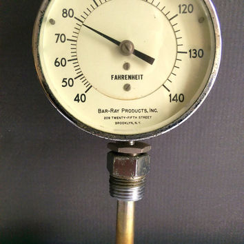 Steampunk Gauge/ Bar-Ray Farenheit Gauge/ Antique Gauge/ Thermometer/ Vintage Thermostat / Brooklyn Vintage