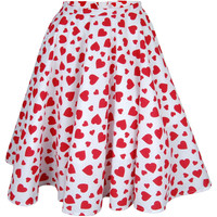 Heart Print Midi Full Circle Swing Skirt | Style Icon`s Closet