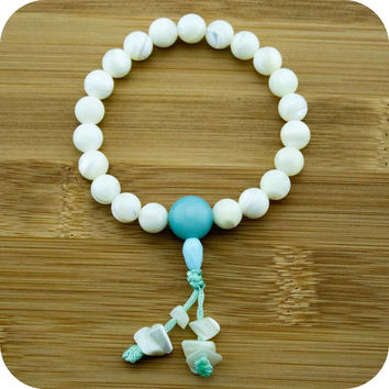 Mother of Pearl Buddhist Mala Bracelet with Amazonite