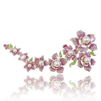 EVER FAITH Austrian Crystal Simulated Pearl 77 Inch Bridal Flower Cluster Brooch Pink GoldTone