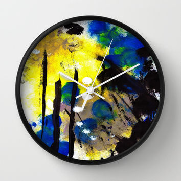 Abstract Painting Wall Clock by Yuval Ozery