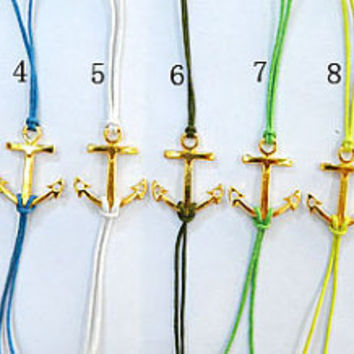 11 kinds of colors can be chosen--Unisex simple fashion golden anchor blue wax rope adjustable braided leather bracelet