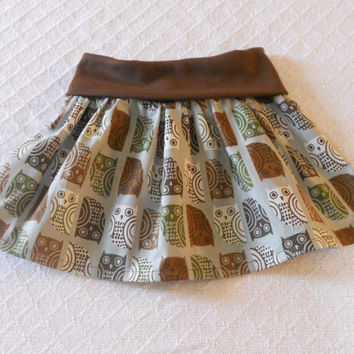 Brown Owl Toddler Fold Over Waist Skirt, Little Girls Skirt, Brown Owl Skirt Toddler, Twirl Skirt Toddler, Flounce Skirt Toddler