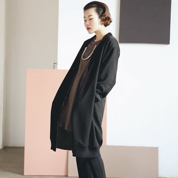 Black Knit Coat Boxy Knit Cardigan Zip Up Silhouette A-shaped Regular Fit Relaxed Fit