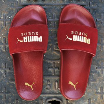 Puma Leadcat Suede Women Men Slippers Gold Leopard Logo Sandals B-CSXY Red