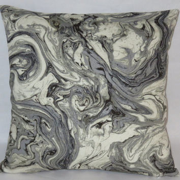 "Grey Marble Pillow, 17"" Square Cotton, HGTV Fabric, Black Cream Swirl, Metallic Silver, Zipper Cover or Insert Included, Ready Ship"