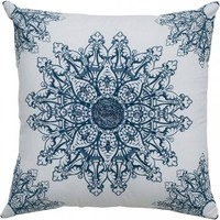 Reena Sequin Pillow - Sequin Pillow - Blue And White Pillows - Embroidered Pillows - Accent Pillows - Toss Pillows - Couch Pillows - Decorative Pillow | HomeDecorators.com