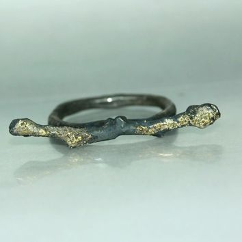 Mans Womans Gold  SilverTwig Branch Organic Handmade Custom Casual Whimsical  Ring Band Twig Ring