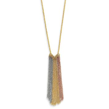 14K Tri Color Gold Tri-color Dangle Chain with 2in ext Necklace 16 Inch