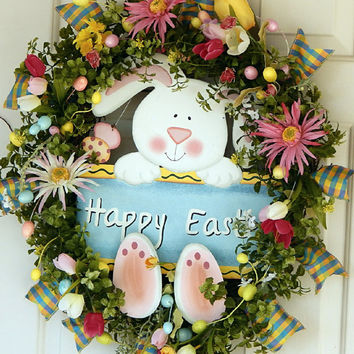 Easter Wreath, Easter Bunny Wreath, Easter Egg Wreath, Easter Rabbit Wreath, Easter Door Wreath, Easter Wreaths, Blue and Pink Easter Wreath