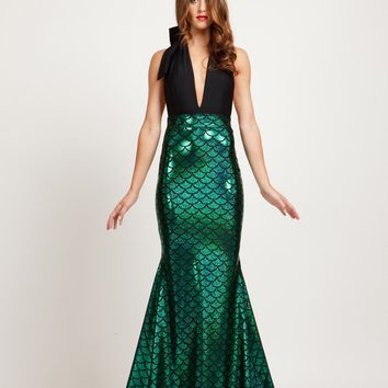 Magical Mermaid Halter Style Maxi Dress