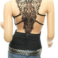 PattyBoutik Sexiest & Stunning Lace Back Ruched Halter Clubwear Top (Black S)