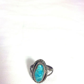Blue Turquoise Ring Size 5 1/2, Petite Vintage Silver Ring,Harvey Southwest Native American Indian Jewelry Style Blue Stone