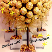 Ferrero Rocher Holiday Chocolate Brown,Gold Candy Arrangement Topiary Favors Centerpiece, Candy Buffet Decor, Wedding, Mitzvah,
