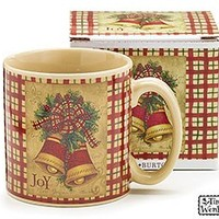 Set of 4 Homespun Joy Christmas Holiday Mugs