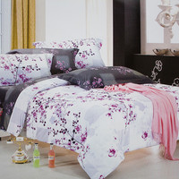 Plum in Snow 100% Cotton 4PC Comforter Cover/Duvet Cover Combo in Full Size