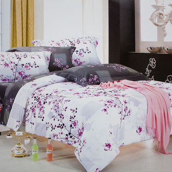 Plum in Snow 100% Cotton 4PC Comforter Cover/Duvet Cover Combo in Queen Size