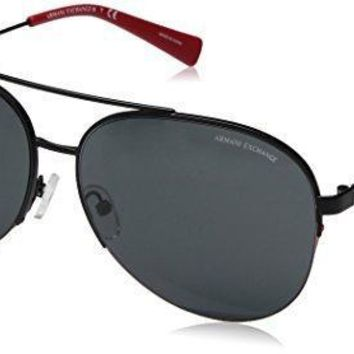 Armani Exchange Men's Metal Man Aviator Sunglasses Matte Black 60 Mm