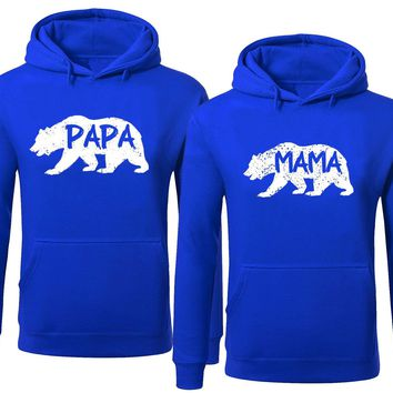 BOLD Bear Family Hoodie for Mama Bear & PAPA Bear Pullover Sweater-Royal Blue-Price for 1