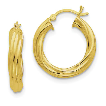 Sterling Silver Gold-flashed Wide Ribbed Twist 25mm Hoop Earrings QE6677