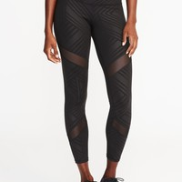 Mid-Rise 7/8-Length Mesh-Panel Compression Leggings for Women|old-navy