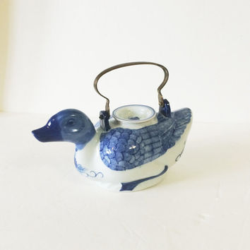 Vintage Blue and White Duck China Teapot