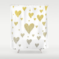 Glitter Hearts Shower Curtain by Psychae