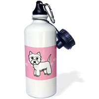 3dRose wb_58605_1 Cute Cartoon West Highland Terrier-Westie Dog on Pink Paw Prints Sports Water Bottle, 21 oz, White