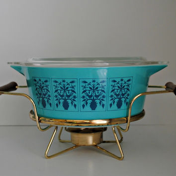 Pyrex SAXONY Tree Of Life 475-b 2.5 Quart Casserole With Lid And Warmer - RARE