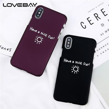 Lovebay Phone Case For iPhone X 8 7 6 6S Plus 5 5s SE Cute Cartoon Letter Simple Things Are The Best Things Hard PC Phone Cover