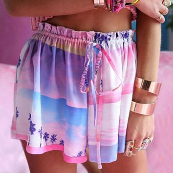 Psychedelic Print Beach Shorts Pants