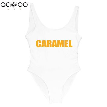 CARAMEL Golden Letter 2018 New Women One Piece Swimsuit Bathingsuit Girls One-piece Beachwear Black White Swimwear biquine