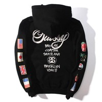 Stussy WT Flags Hoodie Women Men Lover Casual Long Sleeve Plus Velvet Hooded Top Pullover Sweater