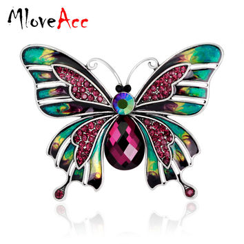 MloveAcc Vintage Large Enamel Esmaltes Butterfly Brooches Corsage Brooch Lot Wedding Broach Violetta Insect Hijab Pin Up Broches