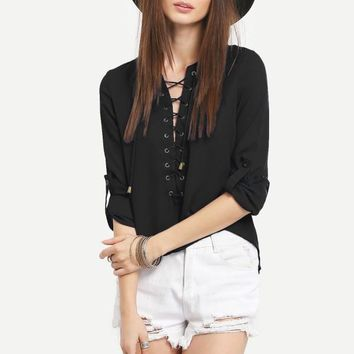 Grommet Lace-Up Placket Rolled Sleeve Blouse