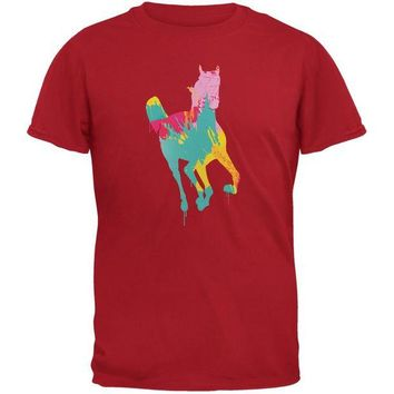 LMFCY8 Splatter Horse Red Adult T-Shirt