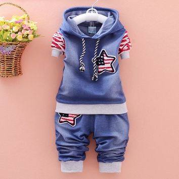 Trendy New 2017 fashion boy clothing cotton long-sleeved denim jacket + pants baby clothing 2 pieces of clothing baby clothing suit AT_94_13