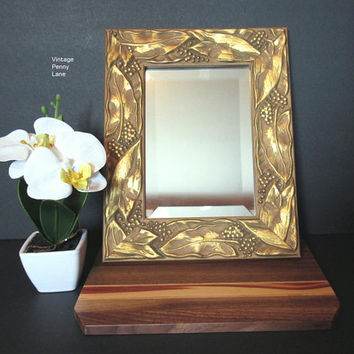 Vintage Handmade Mirror, Wall Hanging, Gold Painted Leaf Motif Wood Frame, Beveled Mirror, Bohemian Syle Decor