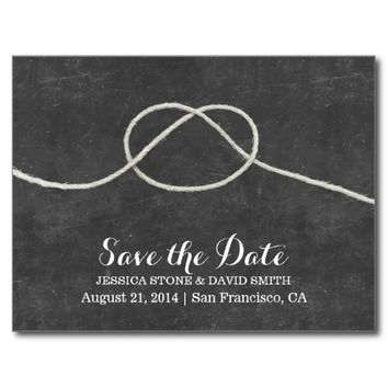 Tying the Knot Chalkboard Save the Date Wedding