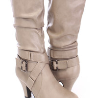 Taupe Slouchy Mid Calf Boots Faux Leather
