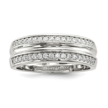 Sterling Silver Rhodium-plated & CZ Men's Ring