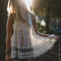 Sheer Layers Boho Crocheted Tank - White