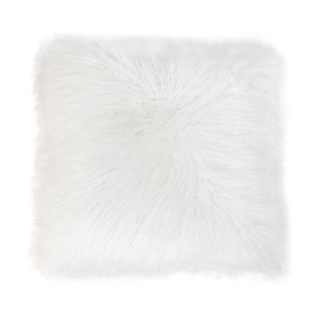 "Faux Mongolian 20"" Square Pillow - Back To Back Fur - White"
